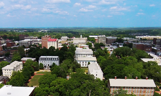 downtown athens aerial view from school of law
