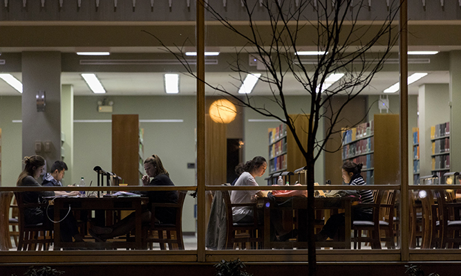 students study in law library at night