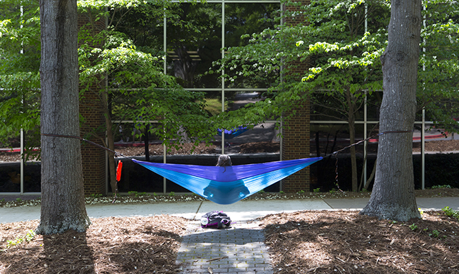 student in hammock outside law library