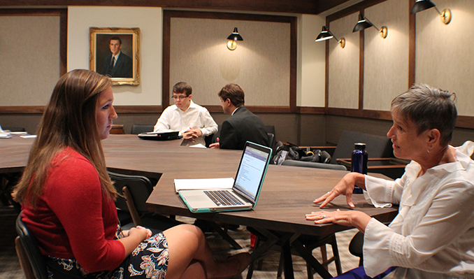 students in mediation clinic with professor Lanier