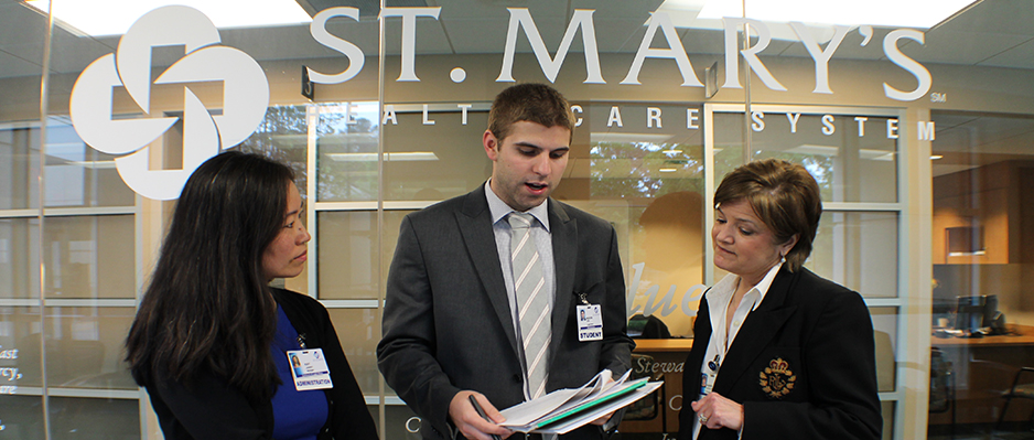 student in corp counsel externship at St. Mary's Hospital