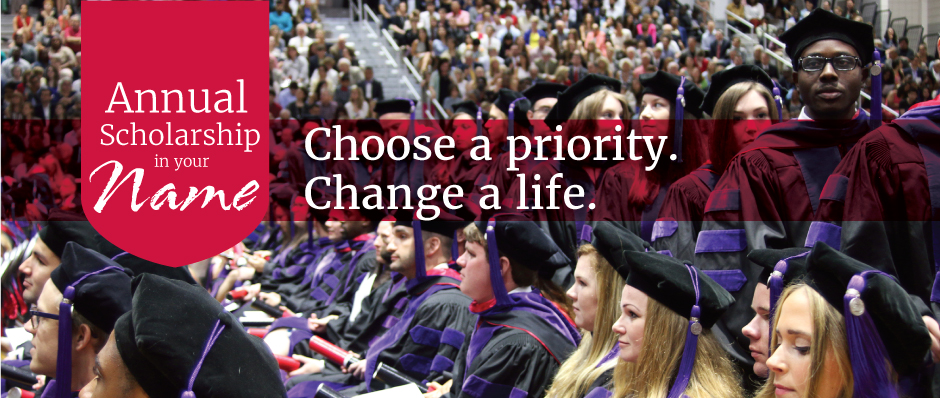Choose a priority. Change a Life. text with images of graduates